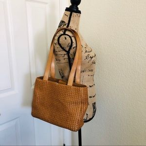 Fossil leather and rattan shoulder bag
